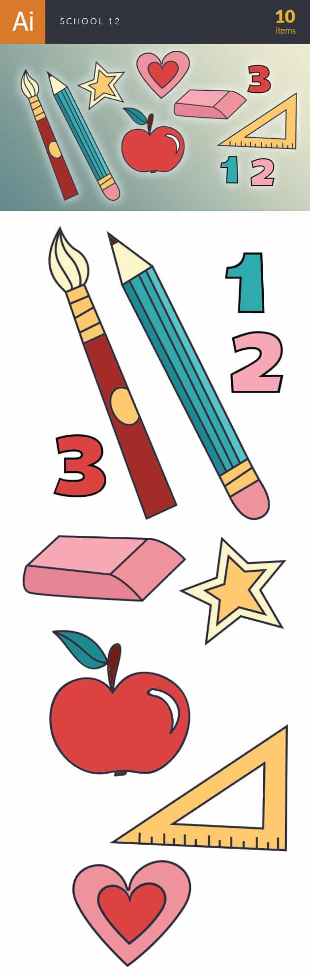 Back To School Vector Set 12 designtnt back to school vector set 12 vector large