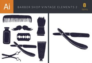 Barber Shop Vintage Vector Set Vector packs bottle