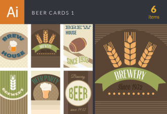 Beer Cards Vector Set 1 Vector packs beer