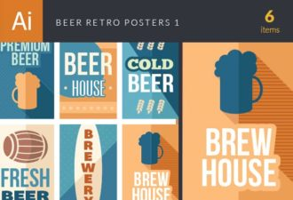 Beer Retro Posters Vector Set 1 Vector packs beer