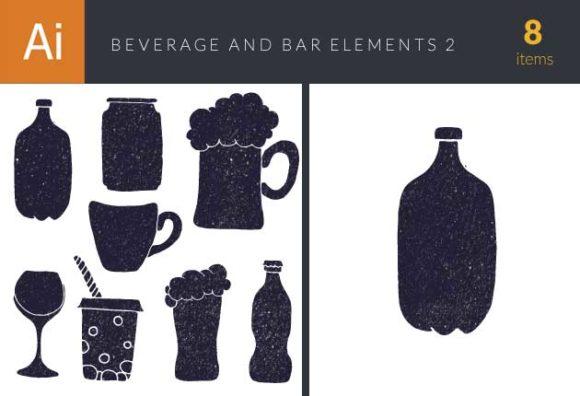 Beverages and Bar Vintage Vector Set 2 Vector packs glass