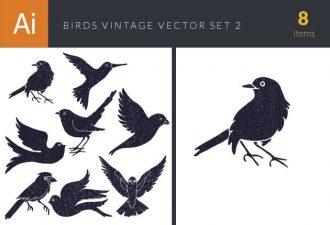 Birds Vintage Vector Set 2 Vector packs bird