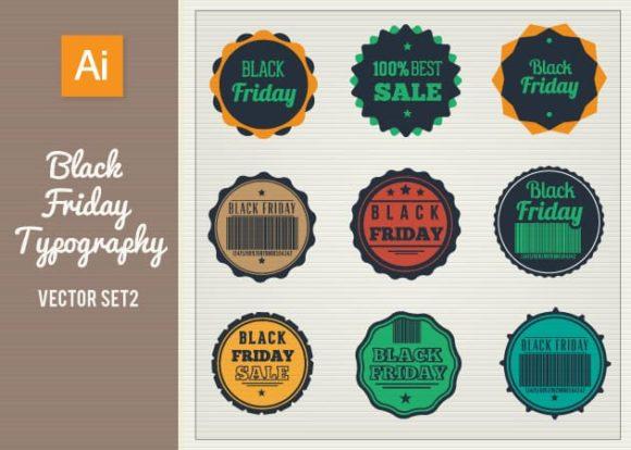 Black Friday Typography Vector Set 2 Vector packs flat