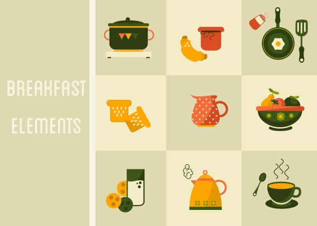 Breakfast Icons Vector Set 1 Vector packs glass