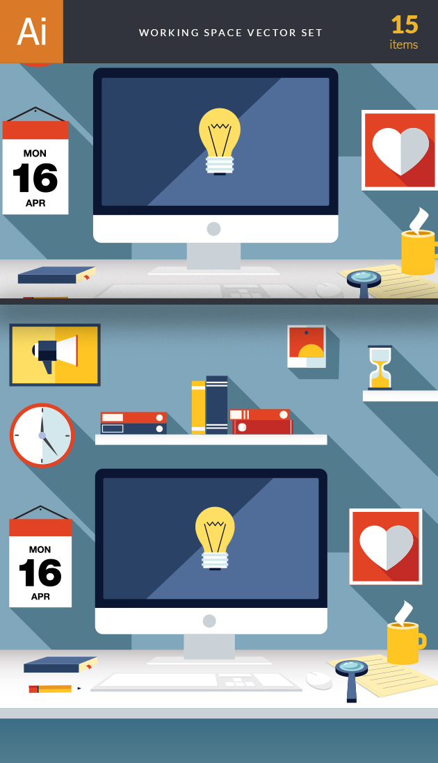 Business Work Space Vector Set 3 2