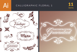 Calligraphic Floral Vector Set 1 Vector packs vintage