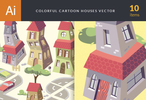 Cartoon Houses Vector Vector packs structure