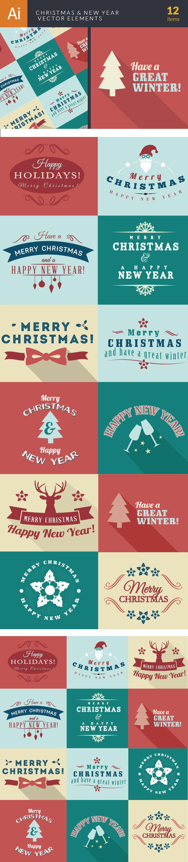 Christmas And New Year Elements Vector designtnt christmas and new year elements vector large
