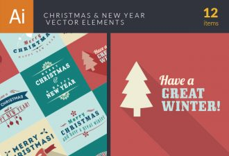 Christmas And New Year Elements Vector Vector packs flower