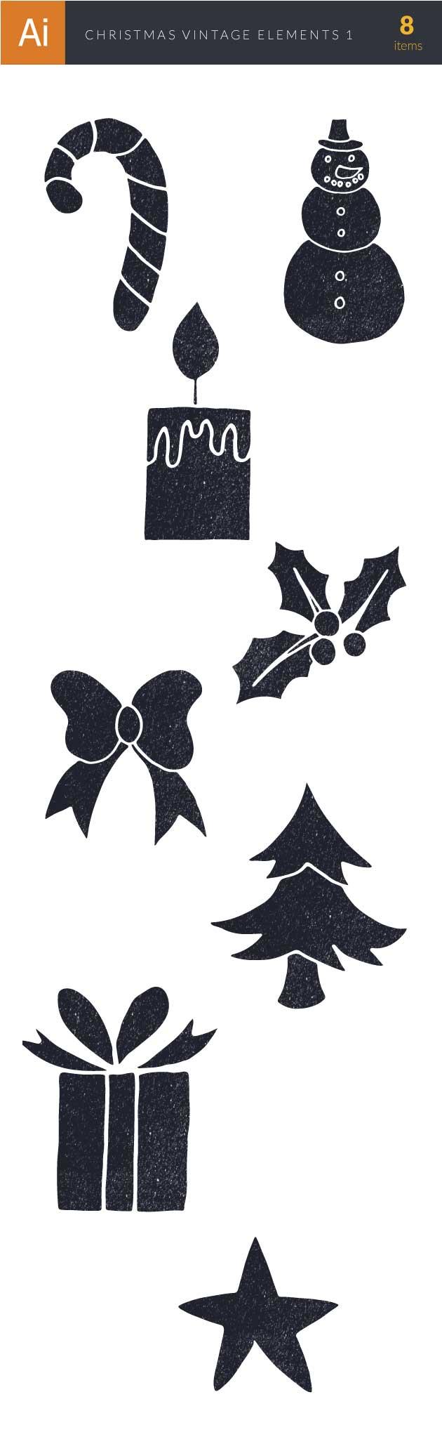 Christmas Day Elements Vector Set 1 designtnt christmas day elements set 1 vector large