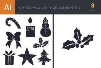 Christmas Day Elements Vector Set 1 Vector packs star