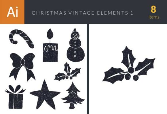 Christmas Day Elements Vector Set 1 designtnt christmas day elements set 1 vector small