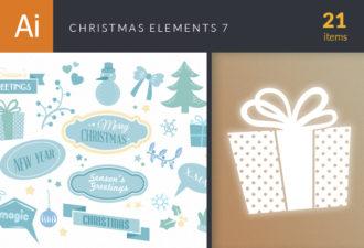 Christmas Elements Vector Set 7 Holidays flower
