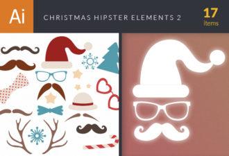 Christmas Hipster Elements Vector Set 2 Holidays ribbon