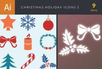 Christmas Holiday Icons Vector Set 1 Vector packs star