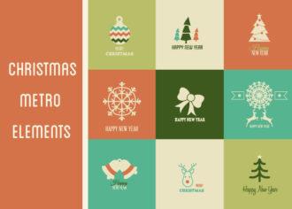 Christmas Metro Vector Set 1 Holidays ribbon