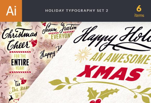 Christmas Typography Vector Set 2 designtnt christmas typography 2 vector small
