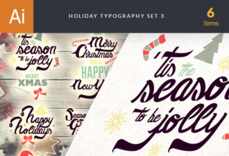 Christmas Typography Vector Set 3 Holidays christmas