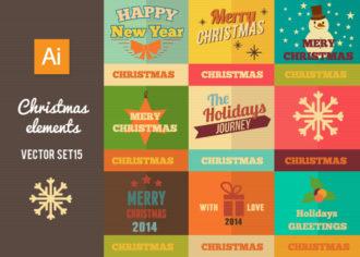 Christmas Vector Set 15 Holidays retro