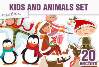 Christmas Kids & Animals Vector Holidays winter