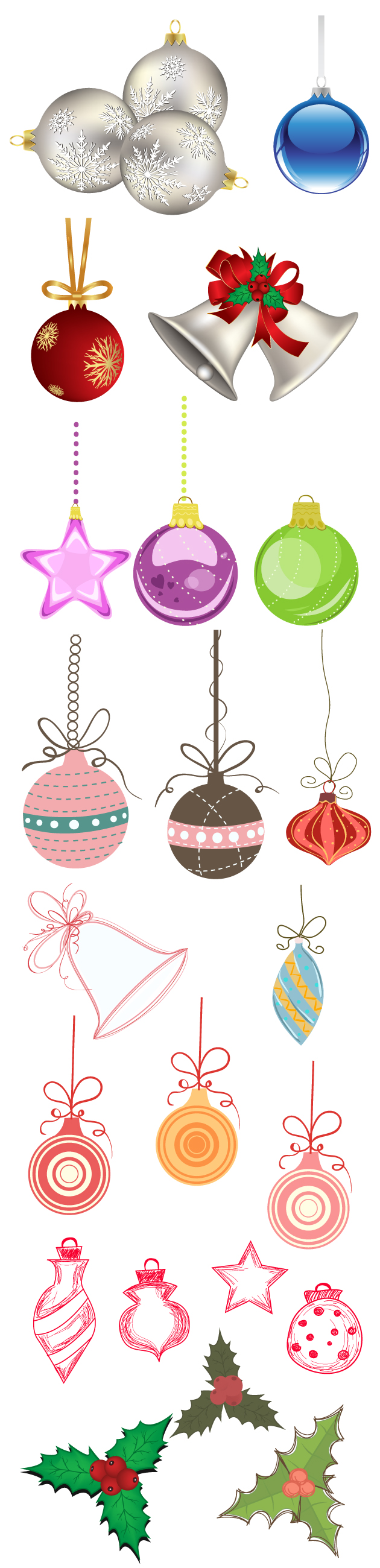 Christmas Tree Ornaments Vector designtnt christmas tree ornaments vector large