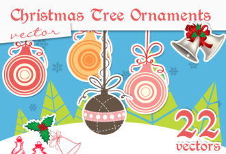 Christmas Tree Ornaments Vector Holidays star