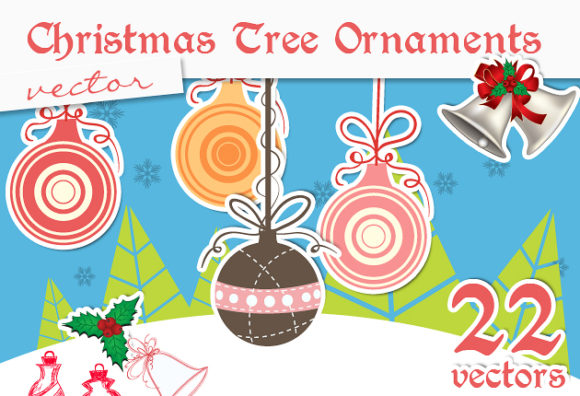 Christmas Tree Ornaments Vector designtnt christmas tree ornaments vector small