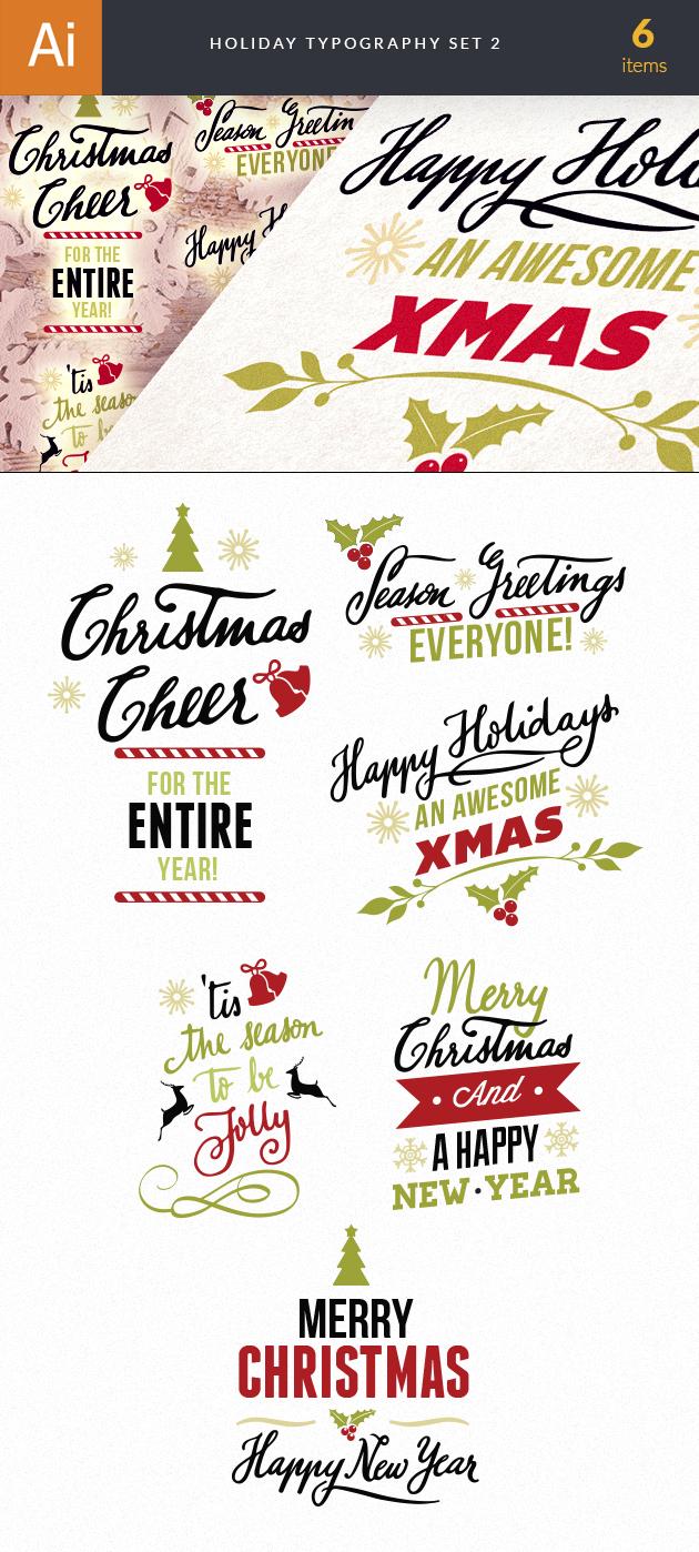 Christmas Typography Vector Set 2 designtnt christmas typography 2 vector large