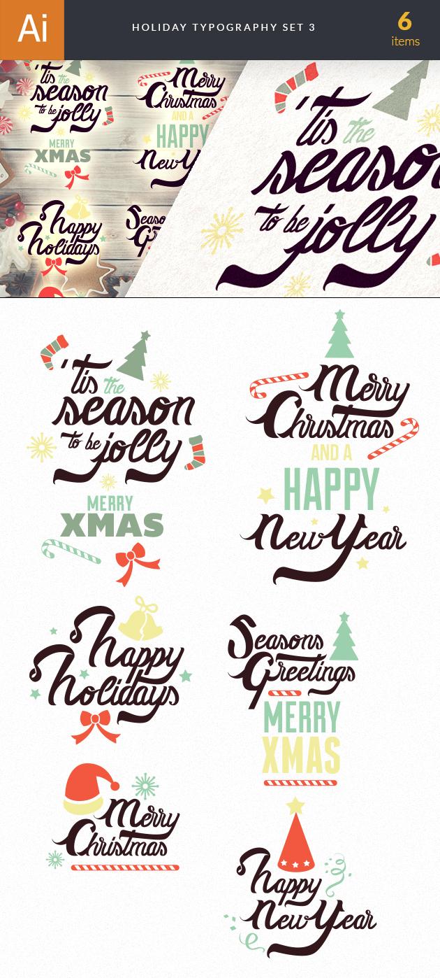 Christmas Typography Vector Set 3 designtnt christmas typography 3 vector large