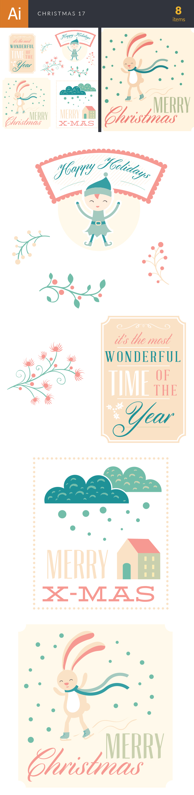 Christmas Vector Set 17 designtnt christmas vector set 17 vector large