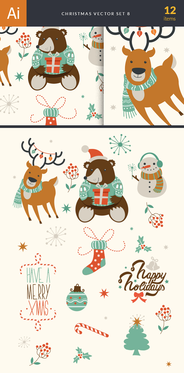 Christmas Vector Set 8 designtnt christmas vector set 8 vector large