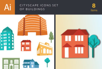 Cityscape Icon Set Of Buildings Vector Vector packs tree