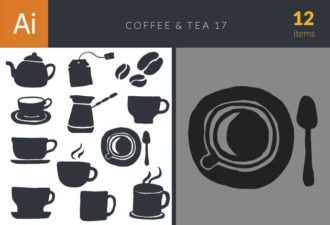 Coffee & Tea Vector Set 17 Vector packs coffee
