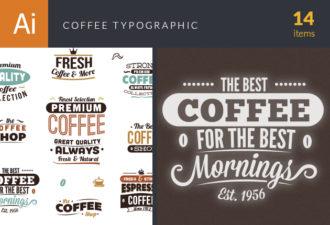 Coffee Typographic Elements Vector Vector packs coffee