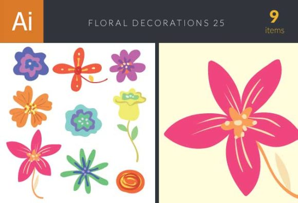 Colored Floral Decorations Vector Set 25 Vector packs nature