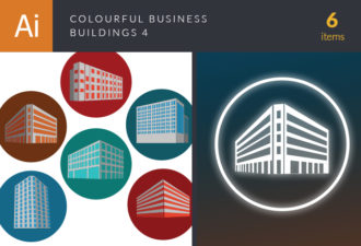 Colorful Business Buildings Vector Set 4 Vector packs structure