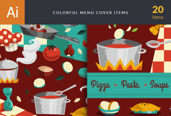 Colorful Menu Vector Set 1 Vector packs retro