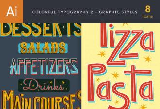 Colorful Menu Typography Set 2 Vector packs retro