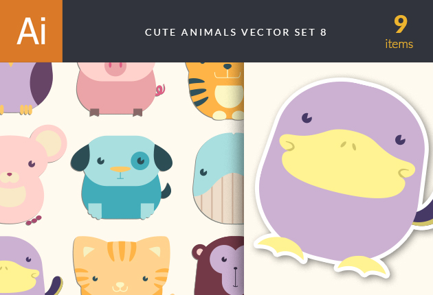 Cute Animals Vector Set 8 Vector packs mouse