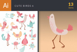 Cute Birds Vector Set 6 Vector packs bird
