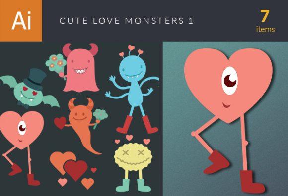 Cute Love Monsters Vector Set 1 designtnt cute love mosnters vector set 1 vector small