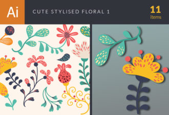 Cute Stylized Floral Vector Set 1 Vector packs nature