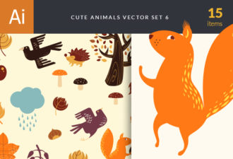Cute Wild Animals Vector Set 6 Vector packs tree