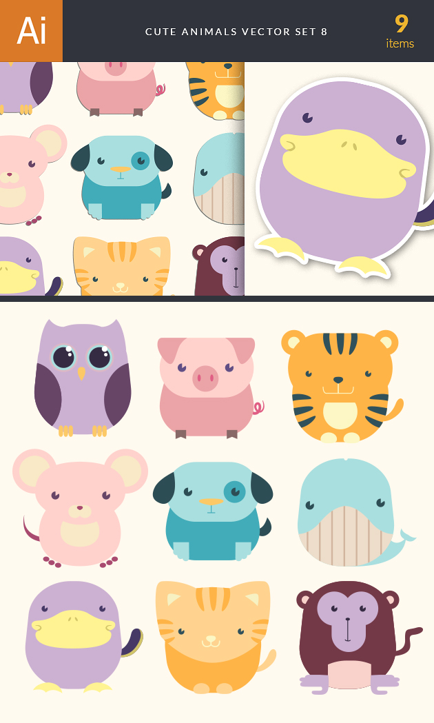 Cute Animals Vector Set 8 designtnt cute animals vector set 8 vector large