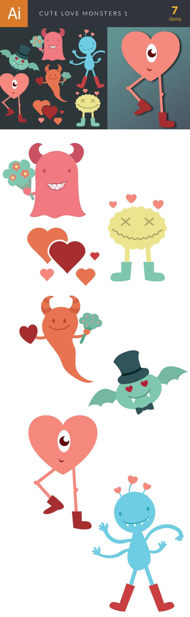 Cute Love Monsters Vector Set 1 designtnt cute love mosnters vector set 1 vector large