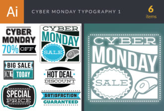 Cyber Monday Typography Set 1 Vector packs satisfaction