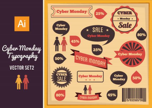 Cyber Monday Typography Vector Set 2 Vector packs flat