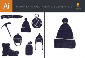 Mountain and Hiking Vector Set 2 Vector packs axe