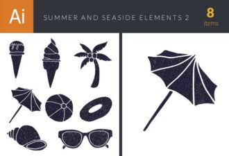 Summer and Seaside Vector Set 2 Vector packs palm tree
