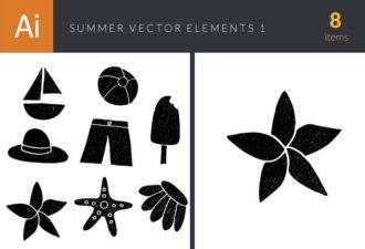 Summer Vector Elements Set 1 Vector packs icecream